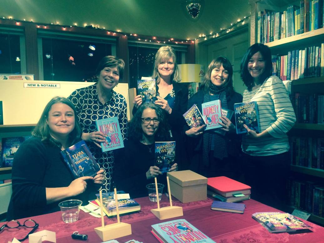 I am having a heart attack in this photo. But look at who I'm surrounded by -- friends and writers. Love these women! Kirsten Kittscher, Kiry Larson, Suzanne Selfors, Sara Nickerson, Jennifer Longo.